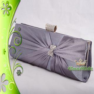 Grey Satin Evening Flap Clutch Handbag Bag Purse Wedding Bridal Party
