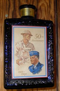 Vintage JW Dant American Legion 50th Anniversary Whisky Bottle