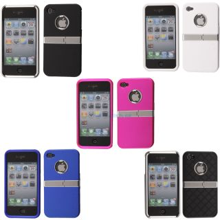 Clip on Plating Plastic Hard Case Cover Chrome with Stand for iPhone 4