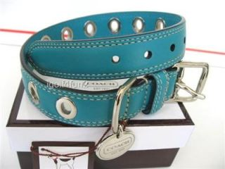 COACH Azure Teal Blue Leather Grommet Dog Collar M Medium NIB