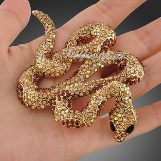 Clear Topaz Rhinestone Swarovski Crystal Snake Brooch Pin Necklace