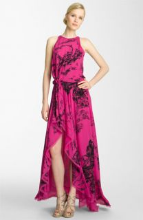Halston Heritage Print Silk Maxi Dress