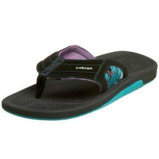 Cobian Cush Neon Mens Flip Flops Sandals Shoes 12 Medium M Black Solid