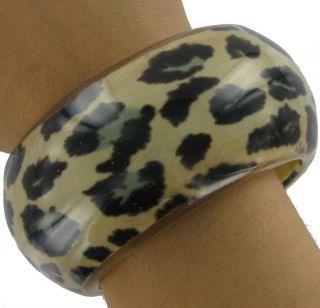New Chunky Lucite Leopard Animal Print Bangle Bracelet