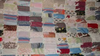 handmade scrap quilt with yarn ties handsewn rectangle multicolored