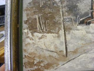 Vintage Oil Painting Country Winter Church Road Scene