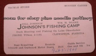 Old Clewiston FL Johnsons Fishing Camp Boats Business Card Lake