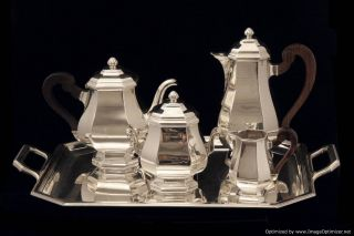 French Art Deco Sterling Silver Tea Coffee Set Sterling Tray