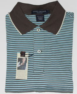 75 Daniel Cremieux Mens Blue Coffee Stripes Jersey Polo Golf Shirt