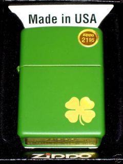 Green Zippo Lighter Irish Four Leaf Clover Shamrock