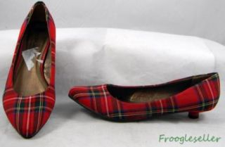 Coconuts by Matisse Womens Mila Kitten Heels Shoes 8 M Red Plaid