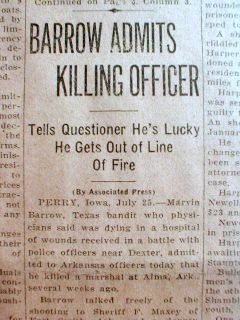 1933 Localtexas Newspaper Bonnie Clyde Barrow Shootout w Police Dexter