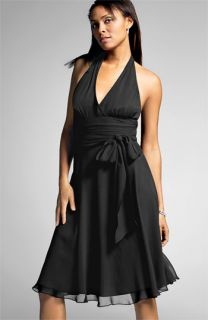 London Times Shirred Waist Silk Halter Dress