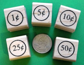 Coin Set Values Set of 5 Mounted Rubber Stamps