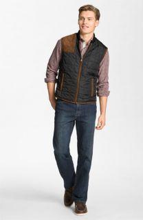 Hickey Freeman Vest & Worn Jeans Straight Leg Jeans