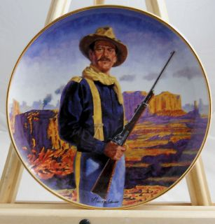John Wayne Hero of The West Collector Plate Mint Cond Orig Box COA 24K