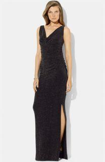 Lauren Ralph Lauren Ruched Metallic Jersey Gown