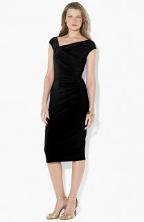 Lauren Ralph Lauren Asymmetrical Neck Jersey Sheath Dress