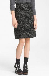 MARC JACOBS Metallic Paisley Jacquard Pencil Skirt