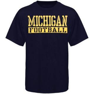 Michigan Wolverines Navy Blue Stencil Football T Shirt