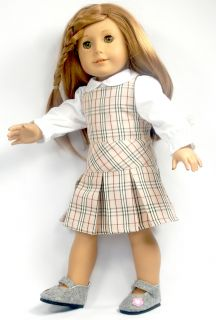 2pcs Doll Clothes Outfit Plaid Skirt 18 american girl new PS02