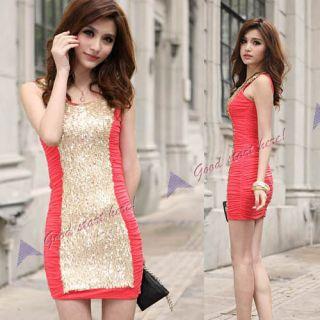 Women Ladys Charming Shining Sequin Mini Party Dress Bling Clubwear