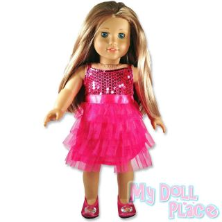 Doll clothes fit American Girl * Hot Pink Dress Ruffles Sequins Fancy