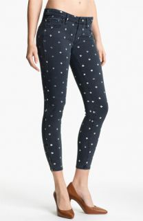 MOTHER The Looker Print Ankle Zip Skinny Jeans (Lapis)