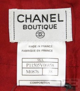 Chanel 2pc Red Wool Gold Clover Jacket & Skirt Suit 98A Size 38