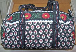 Claire Murray Shoulder Handbag Purse Blue w Red Flowers