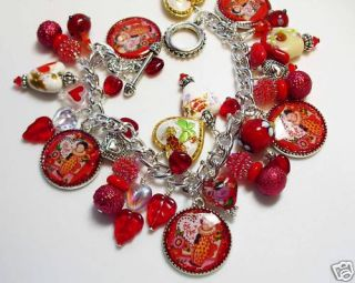 Valentine Clowns Altered Art Charm Bracelet Sweetheart