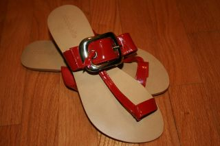 Cocobelle Red Patent Leather Thong Sandals Sz 40
