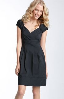 BCBGMAXAZRIA Pleated Stretch Cotton Dress