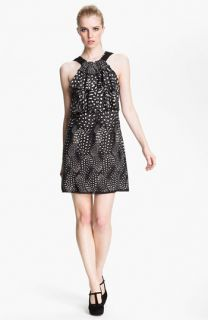 Cut25 Feather & Dot Print Ruffled Shift Dress