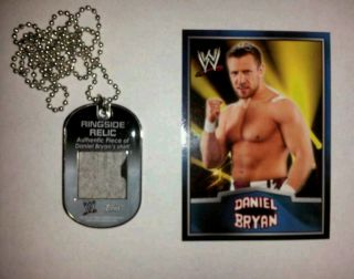 2012 WWE TOPPS 2 COLOR DANIEL BRYAN RINGSIDE SHIRT RELIC DOG TAG