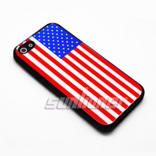 Cover Skin for Apple iPhone 5 US Flag Design with White Color