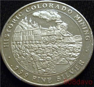 CENTRAL CITY HISTORIC COLORADO MINING .999 silver TRAIN CT mint