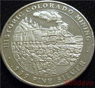 CENTRAL CITY HISTORIC COLORADO MINING .999 silver TRAIN CT mint