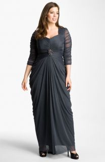 Adrianna Papell Gathered Tulle Gown (Plus)