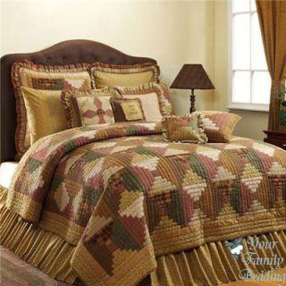 Cal King Primitive Log Cabin Quilt Collection Bed Bedding Set