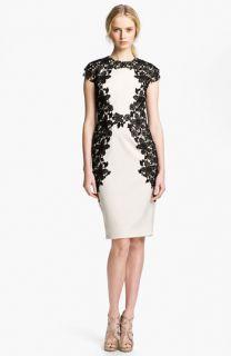 Lela Rose Lace Appliqué Sheath Dress