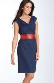 Adrianna Papell Belted Chambray Sheath Dress