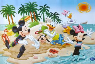Disney Beach Fun Mickey Mouse Donald Duck Burying Goofy Poster from