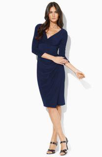 Lauren Ralph Lauren Surplice Matte Jersey Dress (Petite)