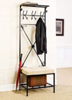 Black Metal Hall Tree Entry Coat Rack Bench Entryway Seat Storage