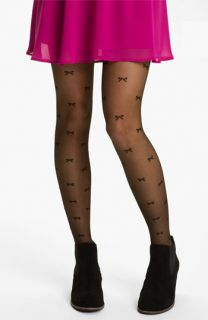 Frenchi® Bow Print Sheer Tights (Juniors)