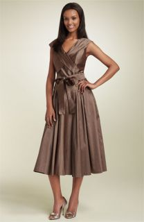 Teri Jon Portrait Collar Silk Dupioni Dress