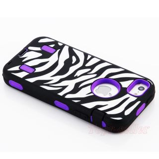 Black Zebra High Impact Combo Hard Rubber Case for iPhone 5 Gen Purple