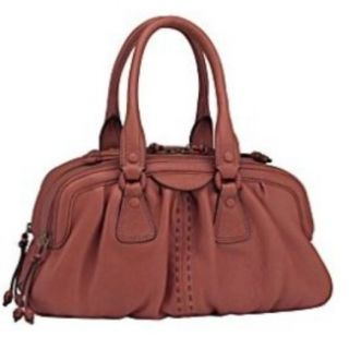 Cole Haan Brown Leather Purse Handbag Tote Satchel Bag Three Zipper