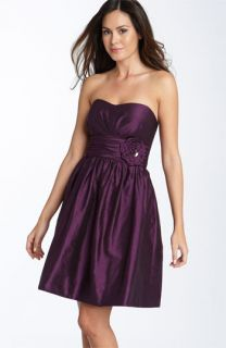 Eliza J Rosette Detail Strapless Taffeta Dress